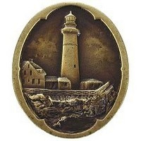 Notting Hill NHK-142-AB, Guiding Lighthouse Knob in Antique Brass, Tropical Collection