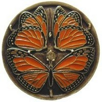Notting Hill NHK-145-BE, Monarch Butterflies Knob in Enameled Antique Brass, Arts & Crafts Collection