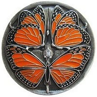 Notting Hill NHK-145-PE, Monarch Butterflies Knob in Enameled Antique Pewter, Arts & Crafts Collection