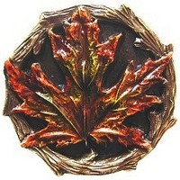 Notting Hill NHK-146-BHT, Maple Leaf Knob in Hand-Tinted Antique Brass, Leaves Collection