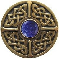 Notting Hill NHK-158-AB-BS, Celtic Jewel Knob in Antique Brass/Blue Sodalite Natural Stone, Jewel Collection