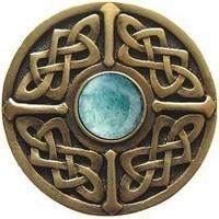Notting Hill NHK-158-AB-GA, Celtic Jewel Knob in Antique Brass/Green Aventurine Natural Stone, Jewel