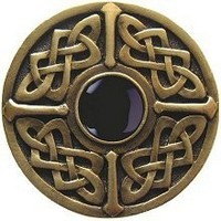 Notting Hill NHK-158-AB-O, Celtic Jewel Knob in Antique Brass/Onyx Natural Stone, Jewel