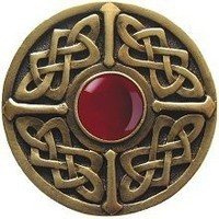 Notting Hill NHK-158-AB-RC, Celtic Jewel Knob in Antique Brass/Red Carnelian Natural Stone, Jewel Collection