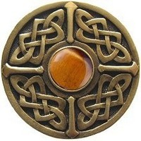 Notting Hill NHK-158-AB-TE, Celtic Jewel Knob in Antique Brass/Tiger Eye Natural Stone, Jewel Collection