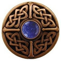 Notting Hill NHK-158-AC-BS, Celtic Jewel Knob in Antique Copper/Blue Sodalite Natural Stone, Jewel Collection