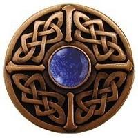 Notting Hill NHK-158-AC-BS, Celtic Jewel Knob in Antique Copper/Blue Sodalite Natural Stone, Jewel