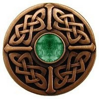 Notting Hill NHK-158-AC-GA, Celtic Jewel Knob in Antique Copper/Green Aventurine Natural Stone, Jewel Collection