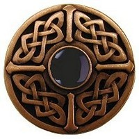 Notting Hill NHK-158-AC-O, Celtic Jewel Knob in Antique Copper/Onyx Natural Stone, Jewel