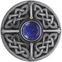Notting Hill NHK-158-AP-BS, Celtic Jewel Knob in Antique Pewter/Blue Sodalite Natural Stone, Jewel Collection