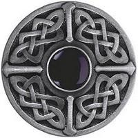 Notting Hill NHK-158-AP-O, Celtic Jewel Knob in Antique Pewter/Onyx Natural Stone, Jewel