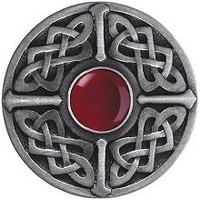 Notting Hill NHK-158-AP-RC, Celtic Jewel Knob in Antique Pewter/Red Carnelian Natural Stone, Jewel Collection