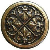 Notting Hill NHK-160-AB, Fleur De Lis Knob in Antique Brass, Olde World