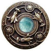 Notting Hill NHK-161-AB-GA, Jeweled Lily Knob in Antique Brass/Green Aventurine Natural Stone, Jewel