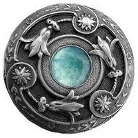 Notting Hill NHK-161-AP-GA, Jeweled Lily Knob in Antique Pewter/Green Aventurine Natural Stone, Jewel