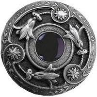 Notting Hill NHK-161-AP-O, Jeweled Lily Knob in Antique Pewter/Onyx Natural Stone, Jewel
