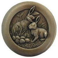 Notting Hill NHK-166-AB, Rabbits Knob in Antique Brass, All Creatures