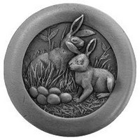 Notting Hill NHK-166-AP, Rabbits Knob in Antique Pewter, All Creatures