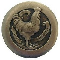 Notting Hill NHK-167-AB, Rooster Knob in Antique Brass, All Creatures Collection