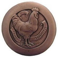 Notting Hill NHK-167-AC, Rooster  Knob in Antique Copper, All Creatures Collection