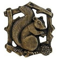Notting Hill NHK-177-AB-L, Grey Squirrel Knob in Antique Brass (Left Side), Great Outdoors