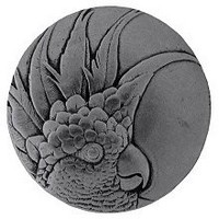 Notting Hill NHK-324-BP-L, Cockatoo Knob in Brilliant Pewter (Small - Left Side), Tropical