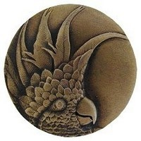 Notting Hill NHK-327-AB-L, Cockatoo Knob in Antique Brass (Large - Left Side), Tropical