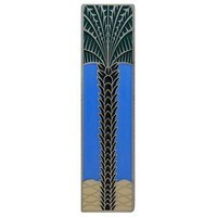 Notting Hill NHP-322-AP-C, Royal Palm Pull in Antique Pewter/Periwinkle (Vertical), Tropical