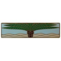 Notting Hill NHP-323-AB-B, Royal Palm Pull in Antique Brass/Pale Blue (Horizontal), Tropical