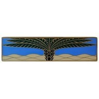 Notting Hill NHP-323-AB-C, Royal Palm Pull in Antique Brass/Periwinkle (Horizontal), Tropical