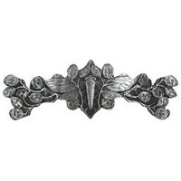 Notting Hill NHP-620-AP, Cicada On Leaves Pull in Antique Pewter, All Creatures Collection