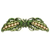 Notting Hill NHP-650-PHT, Pearly Peapod Pull in Hand-Tinted Antique Pewter, Kitchen Garden Collection