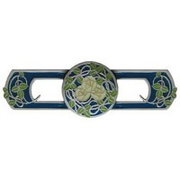Notting Hill NHP-671-AP-B, Delaney's Rose Pull in Antique Pewter/Blue, Arts & Crafts