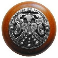 Notting Hill NHW-701C-AP, Regal Crest Wood Knob in Antique Pewter/Cherry Wood, Olde World Collection
