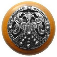 Notting Hill NHW-701M-AP, Regal Crest Wood Knob in Antique Pewter/Maple Wood , Olde World Collection