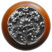 Notting Hill NHW-702C-AP, Gingko Berry Wood Knob in Antique Pewter/Cherry Wood, Leaves Collection