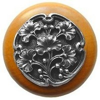 Notting Hill NHW-702M-AP, Gingko Berry Wood Knob in Antique Pewter/Maple Wood, Leaves Collection