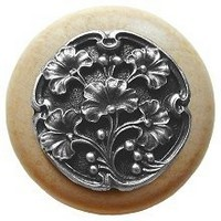 Notting Hill NHW-702N-AP, Gingko Berry Wood Knob in Antique Pewter/Natural Wood, Leaves Collection