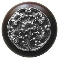 Notting Hill NHW-702W-AP, Gingko Berry Wood Knob in Antique Pewter/Dark Walnut Wood, Leaves Collection