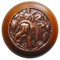 Notting Hill NHW-705C-AC, Jungle Patrol Wood Knob in Antique Copper/Cherry Wood, All Creatures Collection