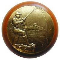 Notting Hill NHW-707C-AB, Catch Of The Day Wood Knob in Antique Brass /Cherry Wood, Great Outdoors Collection
