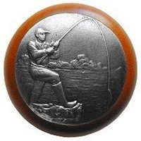 Notting Hill NHW-707C-AP, Catch Of The Day Wood Knob in Antique Pewter/Cherry Wood, Great Outdoors Collection