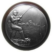 Notting Hill NHW-707W-AP, Catch Of The Day Wood Knob in Antique Pewter/Dark Walnut Wood, Great Outdoors Collection