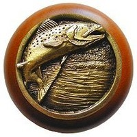 Notting Hill NHW-708C-AB, Leaping Trout Wood Knob in Antique Brass /Cherry Wood, Great Outdoors Collection