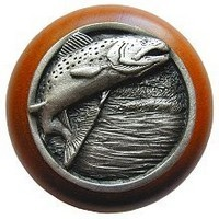 Notting Hill NHW-708C-AP, Leaping Trout Wood Knob in Antique Pewter/Cherry Wood, Great Outdoors Collection