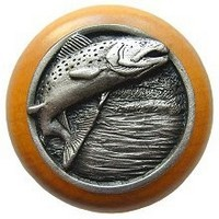Notting Hill NHW-708M-AP, Leaping Trout Wood Knob in Antique Pewter/Maple Wood, Great Outdoors Collection