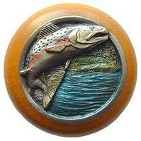 Notting Hill NHW-708M-PHT, Leaping Trout Wood Knob in Hand-Tinted Antique Pewter/Maple Wood, Great Outdoors Collection