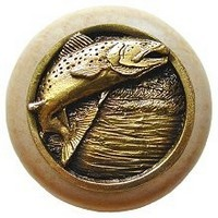 Notting Hill NHW-708N-AB, Leaping Trout Wood Knob in Antique Brass /Natural Wood, Great Outdoors Collection