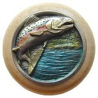 Notting Hill NHW-708N-PHT, Leaping Trout Wood Knob in Hand-Tinted Antique Pewter/Natural Wood, Great Outdoors Collection