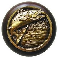 Notting Hill NHW-708W-AB, Leaping Trout Wood Knob in Antique Brass /Dark Walnut Wood, Great Outdoors Collection